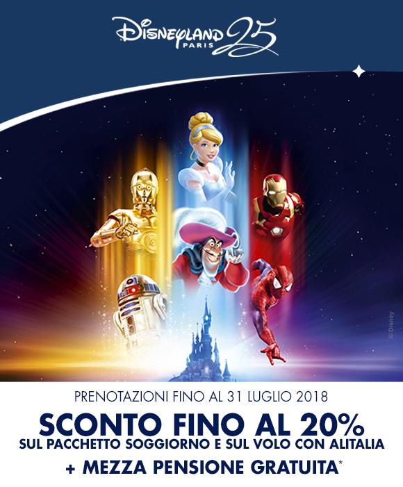 Sconto fino al 20% + mezza pensione gratuita a Disneyland Paris!