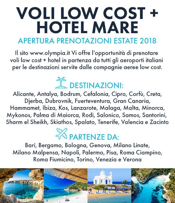 Volo low cost + hotel mare, apertura prenotazioni estate 2018!