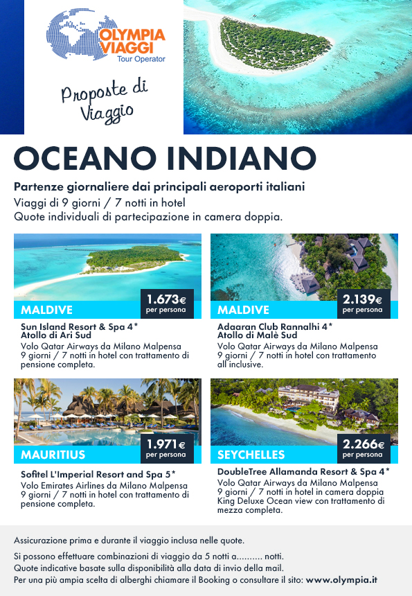 Proposte di Viaggio, offerte speciali mare Oceano Indiano