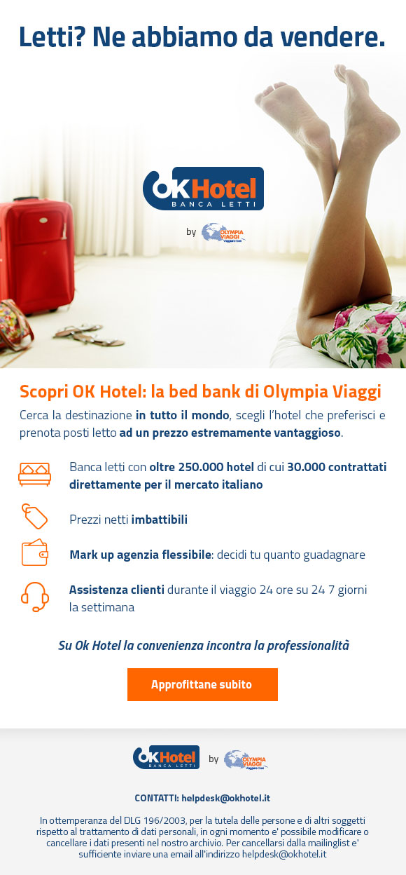 OK HOTEL la banca letti di Olympia Viaggi