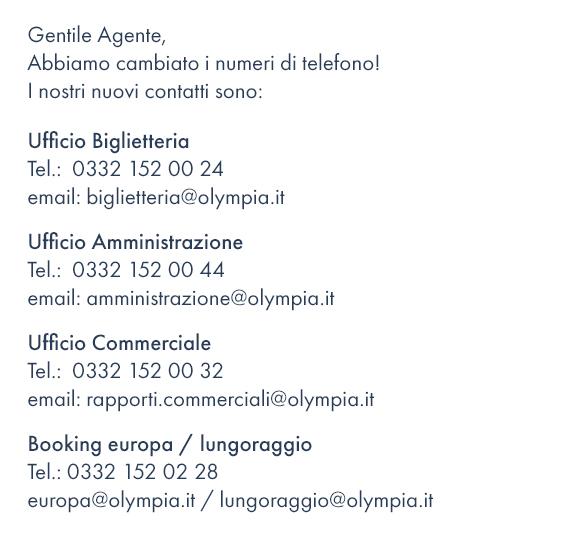 Nuovi numeri telefonici Olympia Viaggi T.O.