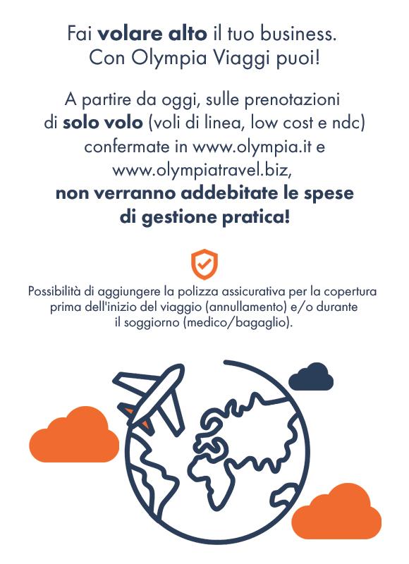 Decolla con Olympia Viaggi - Nessuna spesa di gestione pratica sulle prenotazioni di solo volo!