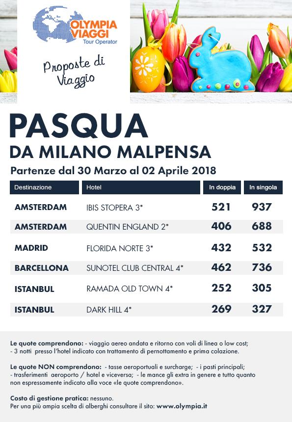Pasqua da Milano Malpensa