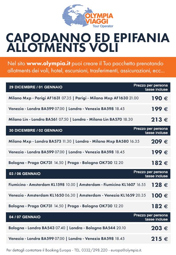 Tariffe allotments Olympia Viaggi